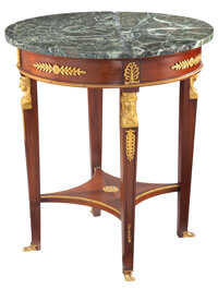 A French Empire-Style Gilt Metal Mounted Mahogany Gueridon with Marble Top, 20th century 30-1/8 x 27 inches (76.5 x 68.6...