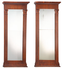 A Pair of Large English Neoclassical Mahogany Mirrors, 19th century 84-1/4 x 37 x 5 inches (214.0 x 94.0 x 12.7 cm) (eac...