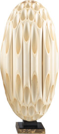 Lighting, Rougier (Canadian, 20th Century). Oval Table Lamp, circa 1975. PVC, acrylic, chrome-plated brass. 30-1/2 x 13 inches (77...