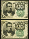 Fractional Currency:Fifth Issue, Fr. 1264 10¢ Fifth Issue Two Examples Extremely Fine or Better.. ... (Total: 2 notes)