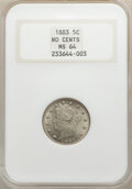 1883 5C No Cents MS64 NGC. NGC Census: (2579/2562). PCGS Population: (3807/2394). CDN: $90 Whsle. Bid for NGC/PCGS MS64...