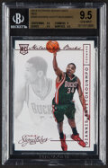Basketball Cards:Singles (1980-Now), 2013 Panini Signatures Giannis Antetokounmpo (Red) #358 BGS Gem Mint 9.5 - #'d 5/5....