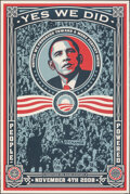"""Movie Posters:Miscellaneous, Barack Obama - Yes We Did (MoveOn, 2008). Rolled, Very Fine-. Poster (24"""" X 36"""") Shepard Fairey Artwork. Miscellaneous.. ..."""