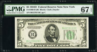 Fr. 1960-B $5 1934D Federal Reserve Note. PMG Superb Gem Unc 67 EPQ