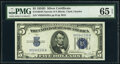 Small Size:Silver Certificates, Fr. 1654 $5 1934D Narrow Silver Certificate. PMG Gem Uncirculated 65 EPQ.. ...