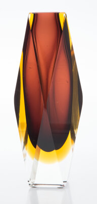 Attributed to Mandruzzato (20th Century) Faceted Sommerso Vase, 20th century Glass 11-7/8 x 5 inc