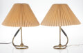 Lighting, Kaare Klint (Danish, 1888-1954). Pair of Lamps. Brass, paper. 16 x 13 inches (40.6 x 33.0 cm) (each). ... (Total: 4 Items)
