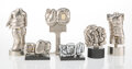 Decorative Accessories, Miguel Berrocal (Spanish, 1933-2006). Six Mini Puzzle Sculptures with Instruction Books, circa 1970. Nickel plated metal... (Total: 12 Items)