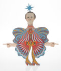 Decorative Accessories, Pedro Friedeberg (Italian/Mexican, b. 1937). Butterfly Figure. Painted wood. 13-7/8 x 12-1/2 inches (35.2 x 31.8 cm). Pa...