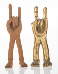 Pedro Friedeberg (Italian/Mexican, b. 1937) Two Hand Sculptures Wood, giltwood 8 x 2-7/8 x 2-1/4 inches (20.3 x 7.3 x...