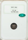 1871 3CS PR64 NGC. CAC. Fully struck and beautifully mirrored in the fields, with satiny luster across the devices. No d...