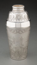 Silver & Vertu, Tiffany & Co. (American, est. 1837). Etched Cocktail Shaker with Hunting Scene, 1889. Silver. 7 x 3-3/8 inches (17.8 x 8...