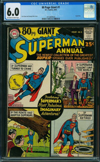 80 Page Giant 1 Superman (DC, 1964) CGC FN 6.0 OFF-WHITE TO WHITE pages