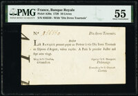 Louisiana (New France)- Banque Royale July 1, 1720 10 Livres Tournois PMG About Uncirculated 55