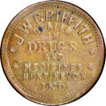 1863 Jesse W. Griffith, Drugs, Civil War Store Card, Huntington, Indiana, Fuld 430E-1a, R.6 -- Cleaned -- NGC Details. U...