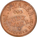 1863 J.C. Yager, Trunk Maker, Civil War Store Card, Springfield, Illinois, Fuld-795A-2a, R.4, MS66 Red and Brown NGC. Ex...