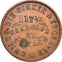 1861 Childs Manufacturer, Die Sinker and Engraver, Civil War Store Card, Chicago, Illinois, Fuld-150J-6a, R.6, MS62 Brow...