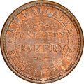 (1861-65) A.W. Wallace, Bakery, Civil War Store Card, Bridgeport, Connecticut, Fuld-35B-1a, R.1, MS63 Brown NGC. Ex: Don...