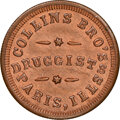 Civil War Merchants, 1863 Collins Brothers, Druggists, Civil War Store Card, Paris, Illinois, Fuld-690A-2a, R.7, MS65 Red and Brown NGC.. Ex: D...