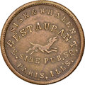 1863 Sisk & Whalen, Restaurant, Civil War Store Card, Paris, Illinois, Fuld-690E-2b, R.8, MS62 NGC. Ex: Donald G. Pa...