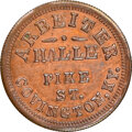 Civil War Merchants, 1863 Arbeiter Halle, Beer Hall, Civil War Store Card, Covington, Kentucky, Fuld-150A-4a, R.7 -- Cleaned -- NGC Details.
