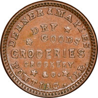 1863 Dehner & Maples, Grocers, Civil War Store Card, Pontiac, Illinois, Fuld-700A-1a, R.5, MS62 Brown NGC. Ex: Donal...
