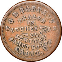 1863 G.B. Barrett, Fancy Goods, Civil War Store Card, Cadiz, Ohio, Fuld-110A-4a, R.9, Fine 15 NGC. Ex: Donald G. Partric...