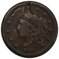 1838 1C Large Cent -- Struck Through Obverse -- Fine 15 PCGS. From The Don Bonser Error Coin Collection Part III