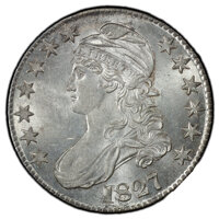 1827 50C Square Base 2 MS62 PCGS. PCGS Population: (126/209 and 0/16+). NGC Census: (96/158 and 0/1+). CDN: $1,550 Whsle...