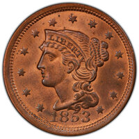 1853 1C N-25, R.1, MS66 Red and Brown PCGS. PCGS Population: (2/0 and 0/0+). NGC Census: (1/0 and 0/0+). MS66. Mintage 6...