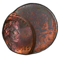 Errors, 1980 1C Lincoln Cent -- Struck 65% Off Center -- MS62 Red and Brown PCGS. . From The Don Bonser Error Coin Collecti...