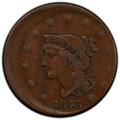 Errors, 1843 1C Petite Head, Large Letters, Large Cent -- Struck 15% Off Center -- VF30 PCGS.. From The Don Bonser Error Coin C...
