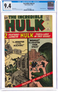 Silver Age (1956-1969):Superhero, The Incredible Hulk #4 (Marvel, 1962) CGC NM 9.4 Off-white to white pages....