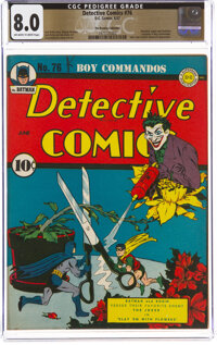 Detective Comics #76 The Promise Collection Pedigree (DC, 1943) CGC VF 8.0 Off-white to white pages