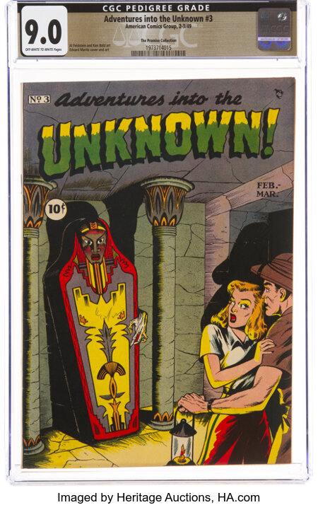 Adventures Into The Unknown #3 The Promise Collection Pedigree (ACG, 1949) CGC VF/NM 9.0 Off-white to white pages....