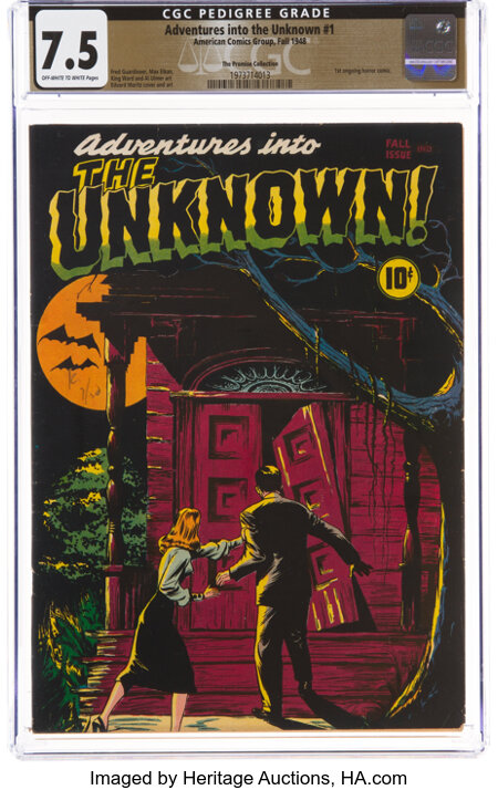 Adventures Into The Unknown #1 The Promise Collection Pedigree (ACG, 1948) CGC VF- 7.5 Off-white to white pages....