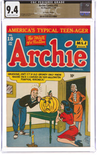 Archie Comics #18 The Promise Collection Pedigree (MLJ, 1946) CGC NM 9.4 Off-white to white pages