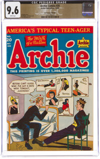 Archie Comics #20 The Promise Collection Pedigree (Archie, 1946) CGC NM+ 9.6 White pages