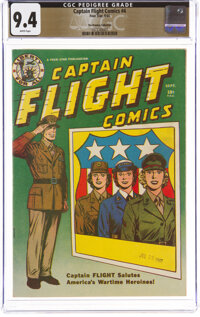 Captain Flight Comics #4 The Promise Collection Pedigree (Four Star, 1944) CGC NM 9.4 White pages