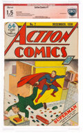 Golden Age (1938-1955):Superhero, Action Comics #7 Verified Signature - Married Cover (DC, 1938) CBCS FR/GD 1.5 Off-white pages....