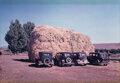 Photographs, Russell Lee (American, 1903-1986). Haystack and Automobiles of Peach Pickers, no. 4, 1940. Dye transfer, printed later b...