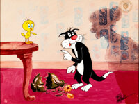 "Tweety and Sylvester ""Who Done It?"" Limited Edition Cel #711/750 (Warner Brothers, 1990)"