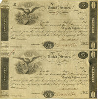 United States - Act of December 26, 1814 Uncut Sheet of $20-$20 5-2/5% Treasury Note. Hessler X80A, Fr. TN-9a. Double-Si...