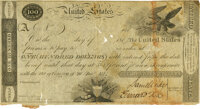 United States - Act of December 26, 1814 $100 5-2/5% Treasury Note. Hessler X80C, Fr. TN-8a. Double-Signature Remainder...