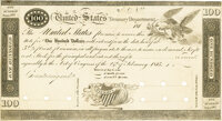 United States - Act of February 24, 1815, Section 3 $100 5-2/5% or Redemption for 6% Stock Treasury Note. Hessler X85, F...
