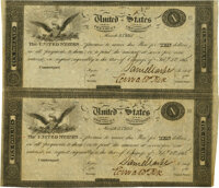 United States - Act of February 24, 1815 Uncut Partial Sheet of $10-$10 Treasury Notes. Hessler X83C, Fr. TN-14a. Double...