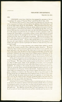 United States - Act of June 30, 1812 Treasury Department Circular. Uncertified. Very Fine