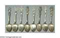 Silver Flatware, American:Unger Brothers, A GROUP OF EIGHT FIGURAL ART NOUVEAU SPOONS