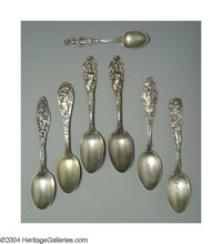 A GROUP OF SEVEN ART NOUVEAU PATTERN SPOONS Various makers, c.1910  All vintage pieces, two love Reed & Barton 'Love...