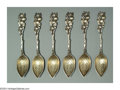 Silver & Vertu:Flatware, A SET OF SIX AMERICAN SILVER H-SERIES CITRUS SPOONS. Mark of Gorham, Providence, Rhode Island, c.1910. Each cast with pier... (Total: 6 Item)
